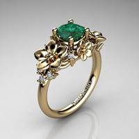 Nature Inspired 14K Yellow Gold 1.0 Ct Emerald Diamond Leaf Vine Unique Floral Engagement Ring R1026-14KYGDEM