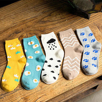 2017 New Fashion Women Kawaii Cartoon Long Socks Korean Funny Egg Pug Cloud Patterned Socks Cute Colorful Pure Cotton Sock