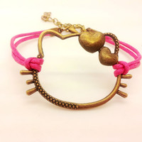 Antique Bronze Hello Kitty Pink Rope Bracelet women ropes bracelet 1487A