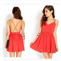 Aliexpress.com : Buy 2014 Summer Women Dress Spaghetti Strap Red Sexy Dresses Backless Chiffon Dress Vestido Sheer Pleated Casual Dress Ruffle Hem from Reliable dress dora suppliers on Kler Store | Alibaba Group