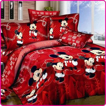 Red  King Queen Twin Cartoon 4PCS Bedding Set Cotton Bed Sheet Linens Duvet/Quilt/Comforter Cover Set
