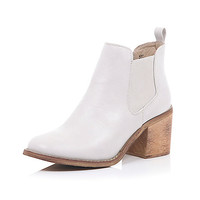 River Island Womens White block heel Chelsea ankle boots