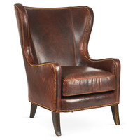 Dempsey Leather Wingback Chair, Bourbon, Wingbacks