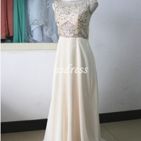 Boat neck Crystal Homecoming Prom Dresses, Champagne prom dresses, Sexy back v-neck Bridesmaid Dresses, ornate crystal Sequin Pageant dress