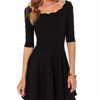 Black Half Sleeve Scallop Collar Mini Ruched Skater Dress