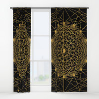 Geometric Circle Black and Gold Window Curtains by Fimbis