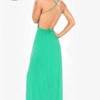 LULUS Exclusive Rooftop Garden Backless Sea Green Maxi Dress