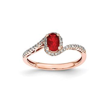 14k Rose Gold Oval Fire Opal & Real Diamond Halo Ring