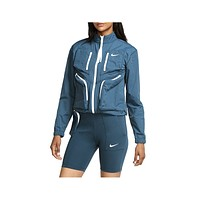 Nike Women's Sportswear Tech Pack Woven Jacket Blue White