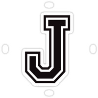 'Letter J sticker - black and white, sporty college font' Sticker by Mhea
