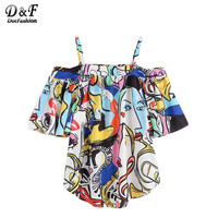 Dotfashion Women Blouse Shirt Loose Style Women Casual Shirts Tops Cute Cold Shoulder Abstract Print Top Blouse