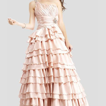 Colors 0566 In Stock One Shoulder Tiered Ball Gown Prom Dress SZ 14 SALE