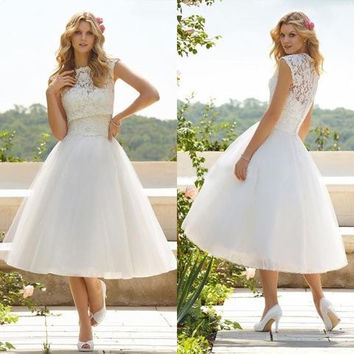 Sexy Women A Line High Collar Tea Length Tulle Appliques Wedding Lace Dress =9926925638