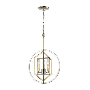 Geosphere 3-Light Chandelier in Polished Nickel and Parisian Gold Leaf