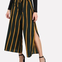 Self Belt Split Side Striped Wide Leg Pants