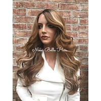 Joni Dark Blonde Highlights  Human Hair Blend Multi Parting Lace Front Wig