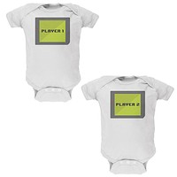 Halloween Twins Player 1 and 2 Costume Soft Twins Baby One Piece