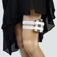 Adjustable Flask Garter 4oz Flask  - Bright White - plus size available - bridal gift for bride