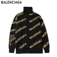 Balenciaga hot seller of turtleneck LOGO sweaters with slanted yellow letters