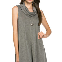 French Terry Cowl Neck Tunic Dress - Charcoal