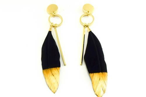 Image of Golden Tip Feather Earrings