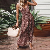 V neck spaghetti straps women dress Boho floral print ruffled long dress female High waist holiday beach ladies vestidos