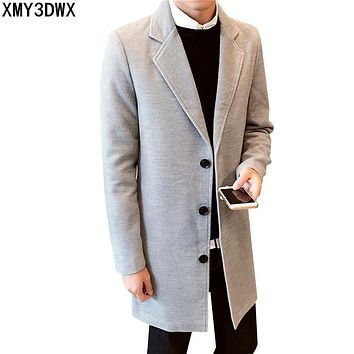 2017 New Winter Wool&blends Men's Leisure Medium-Long Sections Coats male Pure Color Casual Fashion Jackets Overcoat 4XL 5XL
