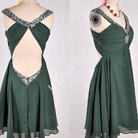 2015 Custom Made Short Black Green Backless Prom Dresses,Short Beaded Homecoming Dresses,Formal Party Grown