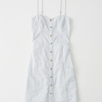 Womens Button Front Mini Dress | Womens Dresses & Rompers | Abercrombie.com