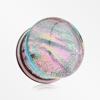 A Pair of Dichroic Glass Purple Rainbow Iridescent Double Flared Plug