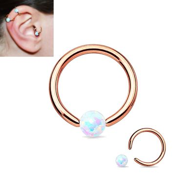 1Pcs Surgical Steel Rose Gold Opal Captive Bead Closer Ring Opal Earring stud  Body Piercing Jewelry-16G