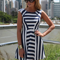The Navy And White Stripe Dress