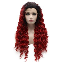 Iewig Long Curly Black Red Ombre Heat Friendly Wig Natural Looking Synthetic Lace Front Wig