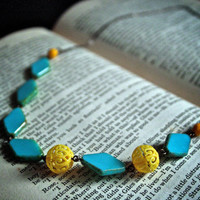 Vintage Teal and Yellow Hand Beaded Necklace Antique