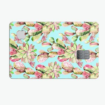 Watercolor Cactus Succulent Bloom V4 - Premium Protective Decal Skin-Kit for the Apple Credit Card