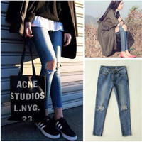 Ripped Holes Jeans Denim Skinny Pants Slim Cropped Pants [9560986447]