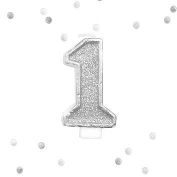 Silver Glitter 1st Birthday Candle Number 1 Silver & White One Smash Cake Topper