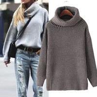 European Loose Turtleneck Solid Women Sweater Pullover 2015 New Winter Knitted Women Sweaters and Pullovers Slim 8 Color Jumpers
