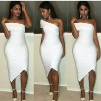 fashion white cute off shoulder dress