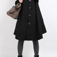 Knitted sleeve wool cape coat (4 color)