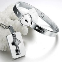 """Valentine's Day Gift for Him or Her: """"You Are Mine"""" Couple Necklace and Bangle"""