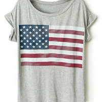 ROMWE American Flag Print Rolled Grey T-shirt