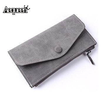 AEQUEEN Black Clutch Wallet Women long purse Female Brand Designers Wallet For Credit Cards Zipper Coin Purse High Quality