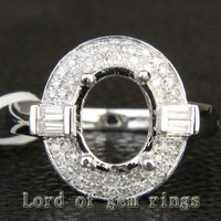 7x9mm Oval Cut 14K White Gold Pave .52ctw Diamonds Engagement Ring Semi Mount