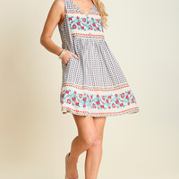 Umgee Floral Border Print Sleeveless Dress