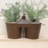 Rustic Double Tin Planter for your country farmhouse or rustic home