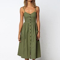 Sexy Beach Dress Plus Size Elegant Buttons Women Cover Ups Strap Long Dresses Female Cover Up Swimsuit