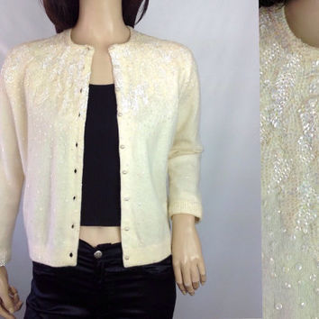 50s Sequin Cardigan Vintage Sequin Sweater Vintage Sweater Lined Evening  Sweater Rockabilly Sweater 39 in S M small medium