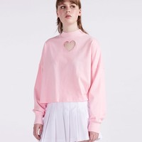 Lazy Oaf Pink Heart Hole Long Sleeve T-shirt - Clothing - NEW IN - Womens