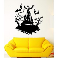 Wall Decal Darkness Night Bats Castle Halloween Tree Fear Vinyl Decal Unique Gift (ed376)